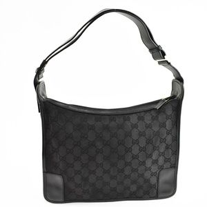 "GUCCI: Black, Leather & ""GG"" Logo Shoulder Bag rw"